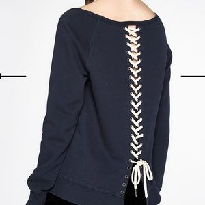 Pam & Gela Navy Laced up sweatshirt
